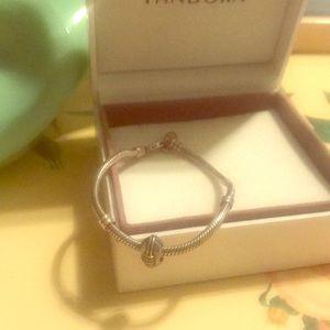 Pandora clasp bracelet and football charm